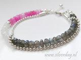 Sterling Zilveren Armband met Labradoriet en Maansteen_