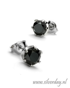 Sterling Zilveren Oorstekers met Zwarte Diamant- Gerhodineerd