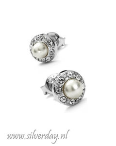 Sterling Zilveren Oorstekers met Swarovski Parels en Kristallen
