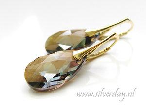 Zilveren Oorbellen met Swarovski Almond