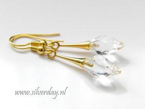 Zilveren Oorbellen met Swarovski Twisted Drop