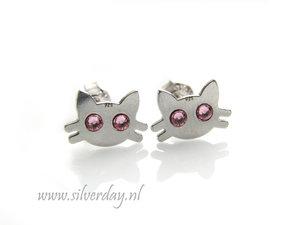 Sterling Zilveren Oorstekers- Katten met Swarovski Kristallen