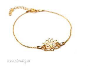 Sterling Zilveren Armband- Lotusbloem Verguld