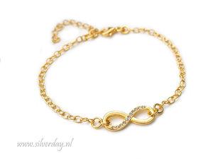 Sterling Zilveren Armband- Infinity met Kristallen Verguld