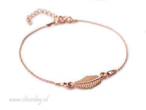 Sterling Zilveren Armband- Blad Rose Verguld