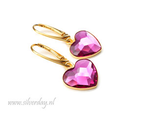 Zilveren Oorbellen met Swarovski Heart