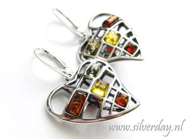 Sterling Zilveren Oorbellen met Barnsteen
