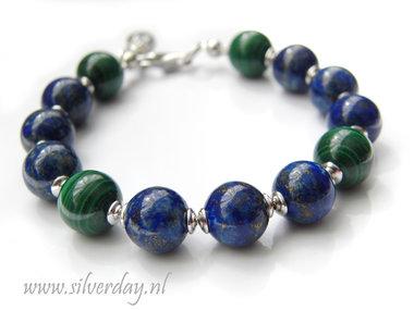 Edelsteen Armband met Lapis Lazuli & Malachiet- Gerhodineerd