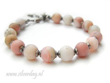 Handgemaakte Armband met Roze Opaal Edelstenen