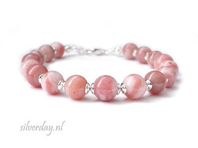 Handgemaakte Edelstenen Armband met Roze Opaal