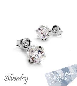 "Sterling Zilveren Oorstekers met Swarovski Zirconia ""Crystal"""