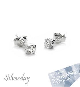 "Sterling Zilveren Oorstekers met 3mm Swarovski Zirconia ""Crystal"""
