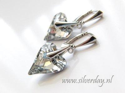 """Zilveren Oorbellen met Swarovski Wild Heart """"Crystal Comet Argent Light"""""""