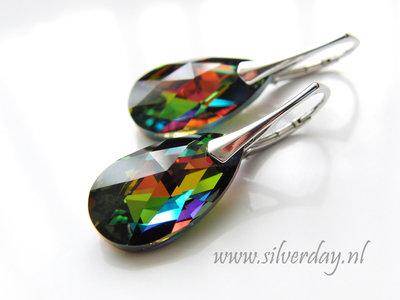 """Zilveren Oorbellen met Swarovski Almond """"Vitrail Medium"""""""
