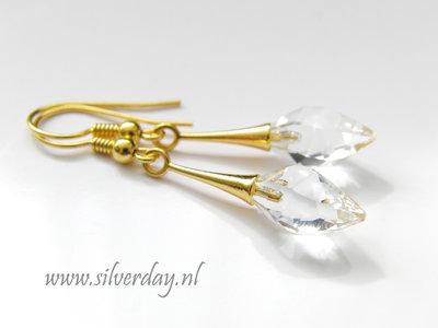 """Zilveren Oorbellen met Swarovski Twisted Drop """"Crystal""""- Verguld"""