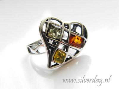 Sterling Zilveren Ring met Barnsteen