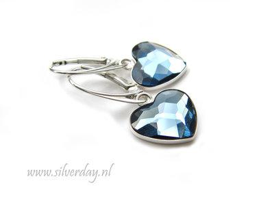 """Zilveren Oorbellen met Swarovski Heart """"Denim Blue"""""""