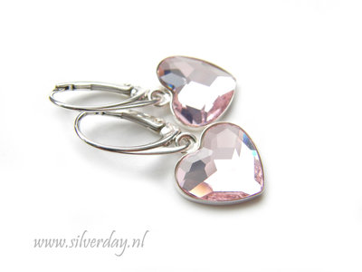 """Zilveren Oorbellen met Swarovski Heart """"Rosaline"""""""