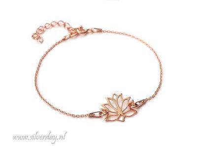 Sterling Zilveren Armband- Lotusbloem Rose Verguld