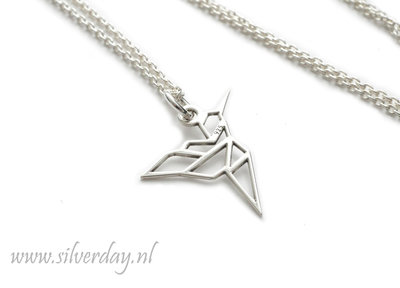 Sterling Zilveren Ketting- Kolibrie Origami