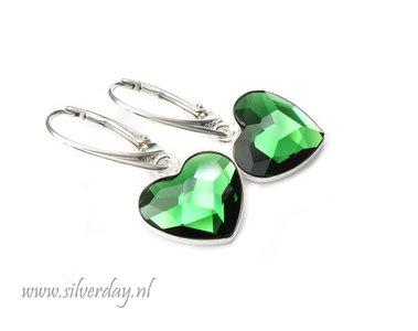 """Zilveren Oorbellen met Swarovski Heart """"Dark Moss Green"""""""