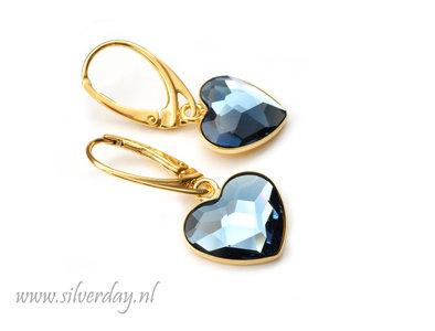 """Zilveren Oorbellen met Swarovski Heart """"Denim Blue"""" Verguld"""