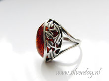 Sterling Zilveren Ring met Barnsteen