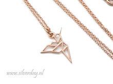Sterling Zilveren Ketting- Kolibrie Origami Rose Verguld